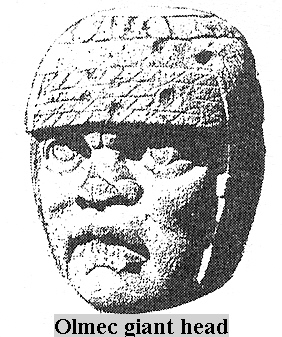 2s - Olmec head artefact, possibly a king's head, hundreds of Olmec heads have been discovered so far, kings carved in succession, Olmec's are black Africans shipped to the Yucatan by Ningishzidda due to his expulsion from Egypt by his brother Marduk, the 1st earthlings to inhabit So. America, as dislpayed by Sitchin in the Mexico City Museum