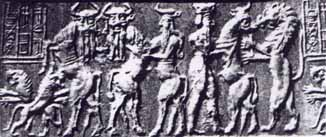 "2s- seal belonging to Enheduanna's major domo, Enkidu & King Gilgamesh scene, SEE GILGAMESH TEXTS UNDER ANU""S CITY OF URUK KINGS, back when the giant alien gods walked & talked with man, directing history all the way"