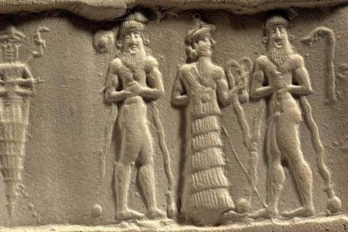 3 - Ningishzidda with entwined serpents, 2 mixed-breed kings, sons to mother Ninsun,  & Enki between them, when the alien giant sons of gods came down from heaven & had sex with the daughters of men, when gods & mankind walked & talked together, & the earthlings did the work for the gods