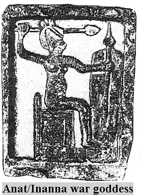 3 - Inanna -  Canaanite Anat, Goddess of Love & War with alien weaponry depicted as similar to the earthling weapons of the day, but not understood by the earthlings, & were much affraid of the gadgets' powers