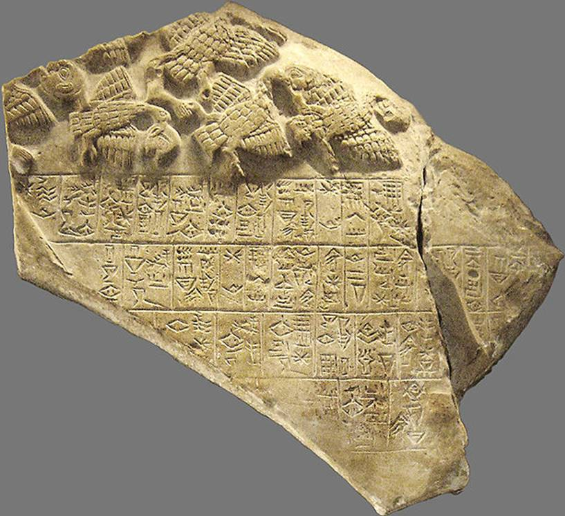 3 - Tablet of the Vultures, Lagash artifact, war with King Eannatum of Lagash, 2600 B.C., when the gods were on Earth directing earthlings through their mixed-breed kings, high-priests, & priestesses