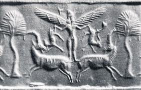 "3 - nude Inanna in the mode of flight lift-off, she managed her spouse-kings from above & below, no where could they hide, if one ever attempted to deceived her, she held no mercy for those she did not like, & so the kings said to the armies, do not fear in battle, ""the gods are on our side"", & our side, & our side, gods & their earthlings against gods & their earthlings, stuck in the middle, the innocent died"