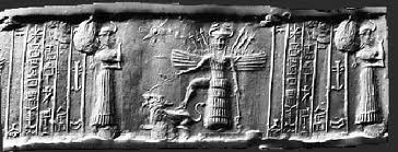 3b - Inanna shown with wings for flight, above is her 8-pointed star symbol of Venus, I imagine she went there in her disc long ago, Venus is the 8th star-planet when entering into our solar system, because Venus is associated with Inanna, it became known as the love planet