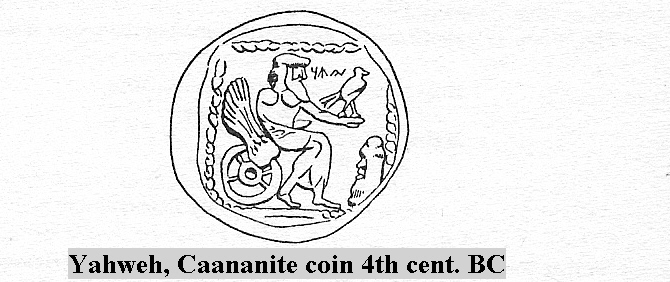 3b - Canaanite coin depicted Yahweh in his flying chariot, a very rare image of the Biblical god of Adam, Noah, Abraham, who was the patriarch of all three main religions of today, & Moses, god image with wings, man's way of drawing alien beings that pilot flying machines, alien technologies not understood by early mankind