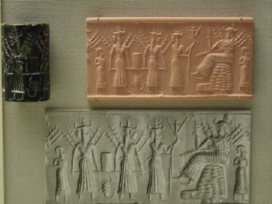 3b - earthling, Haia, unidentified god, Enlil, & Nisaba, Enlil with the plow, & grain goddess Nisaba seated - when the gods did the work, Nisaba & spouse Haia brought down seeds & established grains upon the Earth