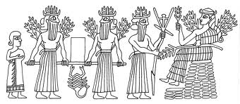 3bb - Haia, unidentified grain god, Enlil, & Nisaba, Haia, god of barley & god of the stores, feeding the gods with spouse Nisaba taking the lead, when the gods did the work, Enki had many experiments with fashioning animal mixed-species, attempting to create workers, he failed with them