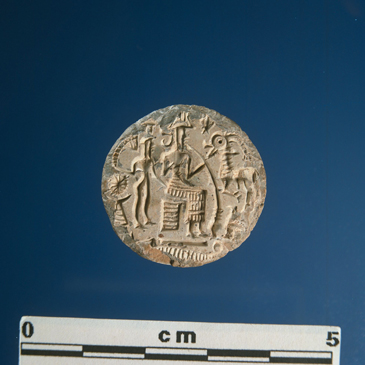 "3c - Enki on an ancient Dilmun seal artefact, Enki brought waters to the lands, Enki, ""He cleansed, purified the [land Di]lmun, Placed Ninsikilla in charge of it,..."""