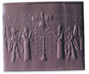 3c - Enlil & Tree of Life, Anu above in a flying disc