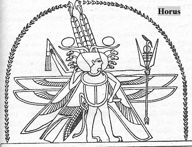 3c -  Egyptian god Horus, grandson to Marduk, with his Whirly-Bird flight ability, a gift to him from his grand-uncle Gibil, similar to today's helicopter