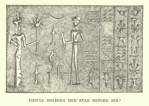 3c - Inanna holding 8-pointed star, & father Nannar with moon crescent symbols