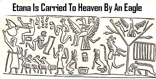 3c - King Etana carried off to Heaven with pilot / eagle, the mixed-breed king is lifted off from planet Earth, rocketing toward Nibiru / Heaven to meet Anu