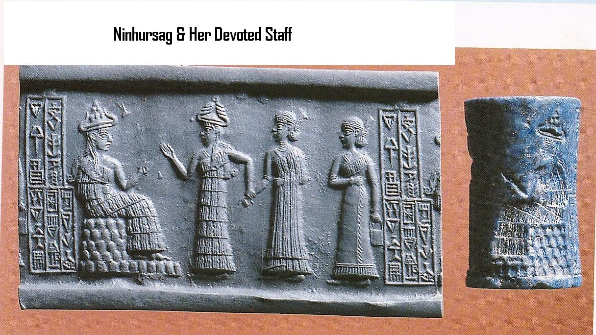 3c - Ninhursag & staff in Sumer, Ninhursag brought with her to Earth Colony her nursing staff, seeds from Nibiru grains & vegetables, sheep, & a world of knowledge