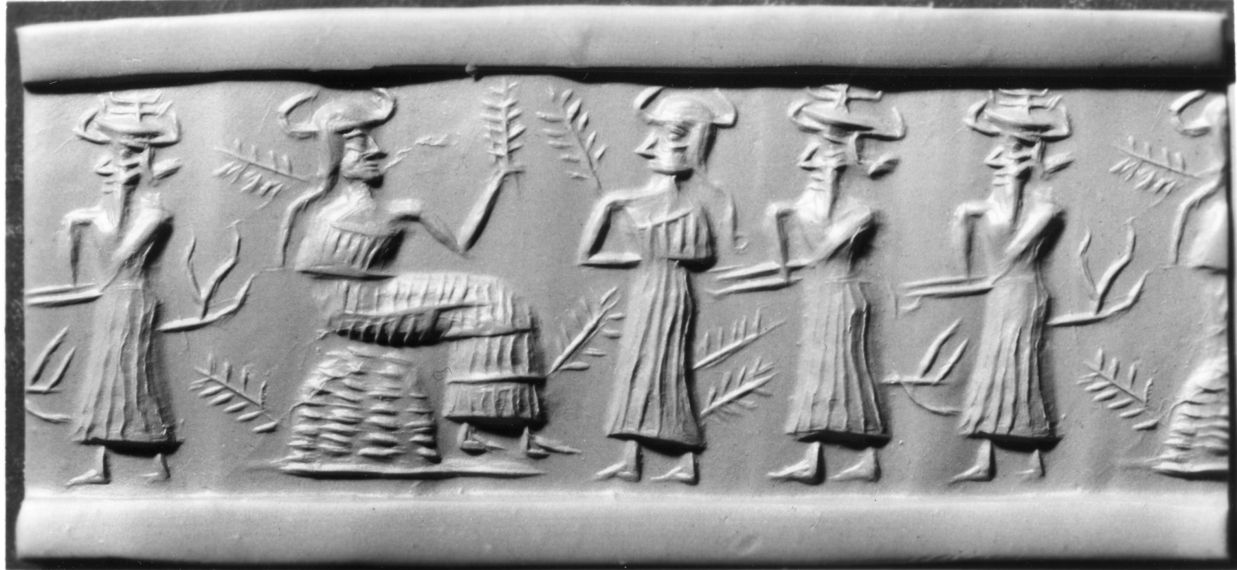 3c - Nisaba, Ninlil, & 2 unidentified gods, Nisaba the grain goddess, when the gods did the work, many complained that the work-loads were too much, and never-ending, some went on strike demanding replacements, Enlil refused to let up, he demanded they continue on