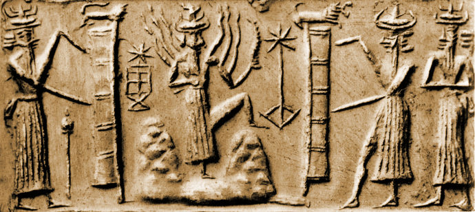 3c - Mesopotamian artefact of Shamash - Utu cutting mountains by his city of Sippar & elsewhere, for launch & landing sites of the giant alien gods with very long beards, & looked similar to us, artefacts of the alien giant gods are being shamefully destroyed by Radical Islam, attempting to eliminate any ancient knowledge that directly contradicts the 7th century teachings of their prophet, thousands & thousands of them exist in museums, in private collections, at the site it self, etc.