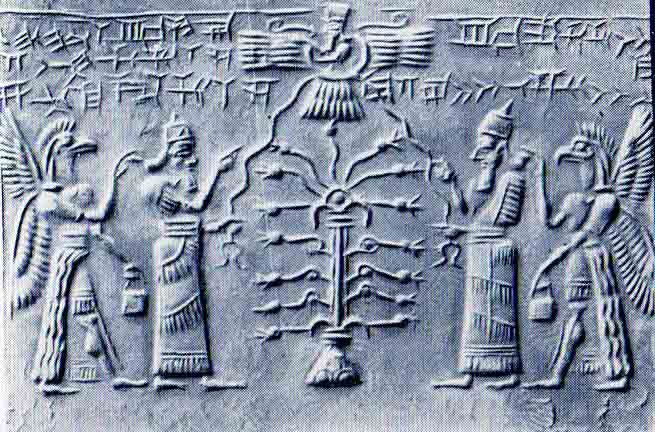 3d - Enlil & Ninurta, Tree of Life, Anu flying above in a disc, a religious & Masonic symbol, DNA pairs of gnomes