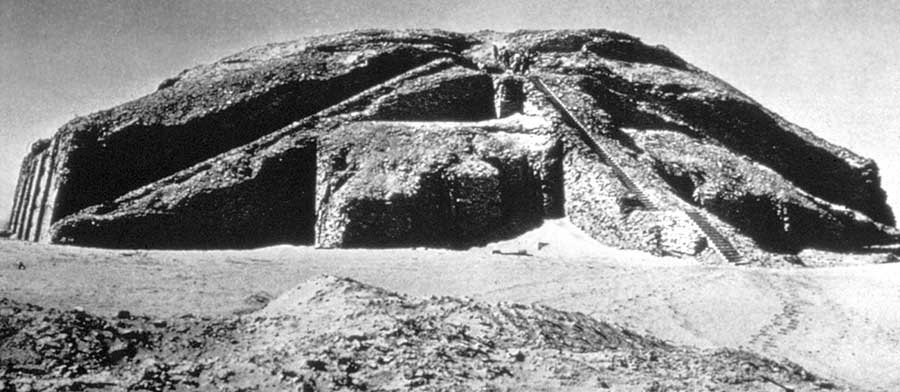"""3d - Nannar's Ziggourat-Temple in Ur, features the """"Stairway to Heaven"""", Nannar & Ningal's mud brick-built house in the ancient city Ur, the great god Nannar was the 1st son to Enlil & Ninlil, grandson to Anu, the King (father) in Heaven, Nannar was the moon crescent god of all Mesopotamia, Nannar was the Biblical god of Abraham, Isaac, & Jacob, named """"El"""", means """"god"""", """"Elohim"""" means """"gods"""""""
