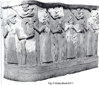 3da - King Gudea of Lagash basin with relief of plenty given by the gods, artefacts of the gods are shamefully being destroyed by Radical Islam, attempting to eliminate ancient historical evidence that directly contradicts the 7th century A.D. teachings of Islam, this artefact is now destroyed!