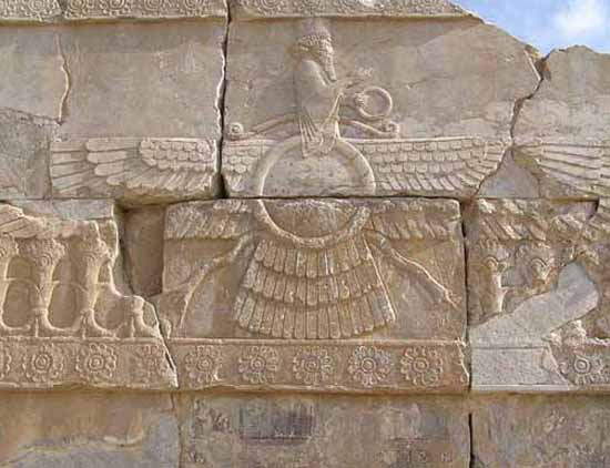3e - wall relief artefact of Ashur, son to Marduk, named Ahuru-Mazda in Persia, artefacts like this are shamefully being destroyed by Radical Islam, attempting to eradicate any ancient historical evidence that directly contradicts the 7th century teachings of their prophet