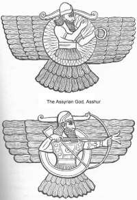 3g - Ashur scanned the skys in peace & war, Ashur, along with many other gods, had his own flying disc, used in wars over & over again, the gods like Ashur guaranteed the kingships successes & longevity, all the great empires were originated by the gods, appointing mixed-breed offspring of theirs to the authority positions over earthlings, as kings, high-priests, & high-priestesses, etc.