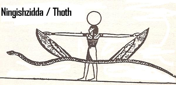 "3h - Thoth - Ningishzidda with a serpent, Enki, his sister Ninhursag, & his son Ningishzidda mixed the DNA of gods with that of wild man, creating a new mixed-breed ""modern man"", evolution of man's ""missing link"""
