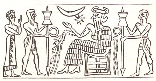3i - Enki, god of waters, Enki In his house, built in Eridu, his city in the drained marshlands of the Persian Gulf, in today's Iraq, on the Euphrates River