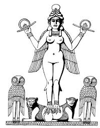 3i - Inanna atop lions, her zodiac sign of Leo