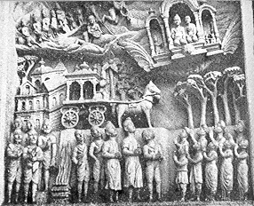 3i - ancient artefact from India, rock carving of a flying throne-room of the alien gods, with earthlings down below looking up at them, a technology not from Earth, but from the skys