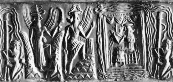 3j - unidentified god, Utu, Ninurta, & Enki, Enki on his throne in Eridu, visited by 1/2 brother Enlil's descendants