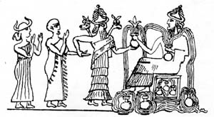 3k - Ninsun, her son Gudea, Ningishzidda, & his father Enki, Enki is being presented the mixed-breed Gudea by his son Ningishzidda & his once lover Ninsun