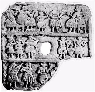 3k - Ur-Nanshe banquet artefact, kings or high-priests were to see to the needs of the gods they serve, food, clothing, drink, etc.; all things were taught to them by the gods, for they were the workers for the gods , created in their image & likeness