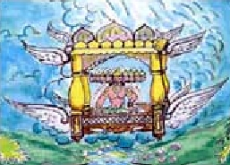 3l - Uavimana, Hindu painting of an alien god in his flying bed-throne, ancient way of attempting to duplicate alien technologies way beyond those earthlings who witnessed the events