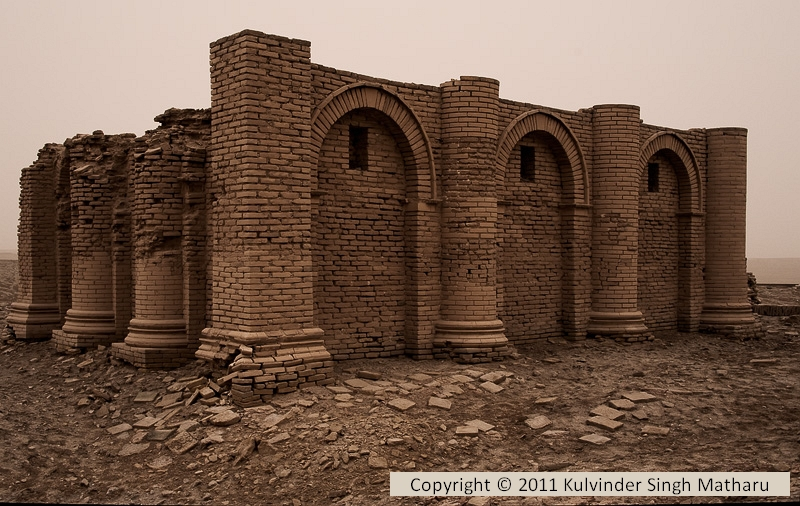 temple wall in Nippur, Enlil's city of mud brick survives after thousands of years of weathering, these type of ancient sites are being destroyed by Radical Islamists, attempting to eliminate any knowledge of the giant gods