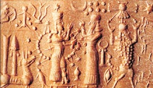 3mb - ancient artefact of the scene in history with Ishtar possesing divine alien powers, & Enlil, 8-pointed stars, eager to use force, warned against going too far against her cousins by Enlil, artefacts like these are being destroyed by Radical Islam, wanting to eliminate all evidence & knowledge contradictory to the teachings of Islam