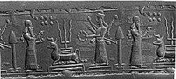 3mc - Enlil & Inanna with divine weapons, Enlil's 7th planet of Earth & his son Adad's 3-pronged fork symbols
