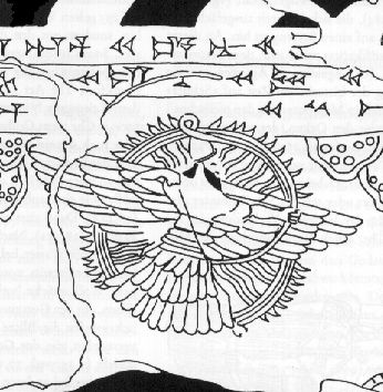 4 - Ashur scanning the skys in his flying disc, the city of Assur was protected from above by it's giant alien god Ashur & his weaponized flying disc