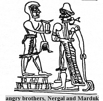 4 - Nergal wars against brother Marduk, Nergal & Ninurta launch 7 nuclear missiles toward Marduk & his sons Ashur & Nabu, causing death throughout all of Mesopotamia, SEE LAMENT TEXTS FOR SUMER & ITS CITIES