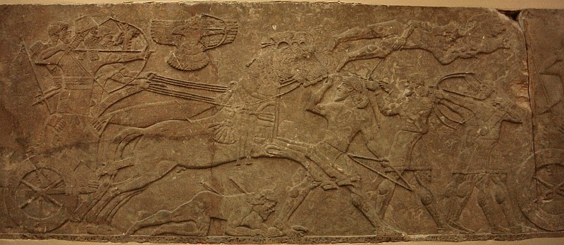 4 - Nimrud battle scene of Mesopotamian king with protection from a god above in a flying disc, artefacts like these contradict teachings of all religions, historians, philosophers, scientists, inventers, etc., etc.