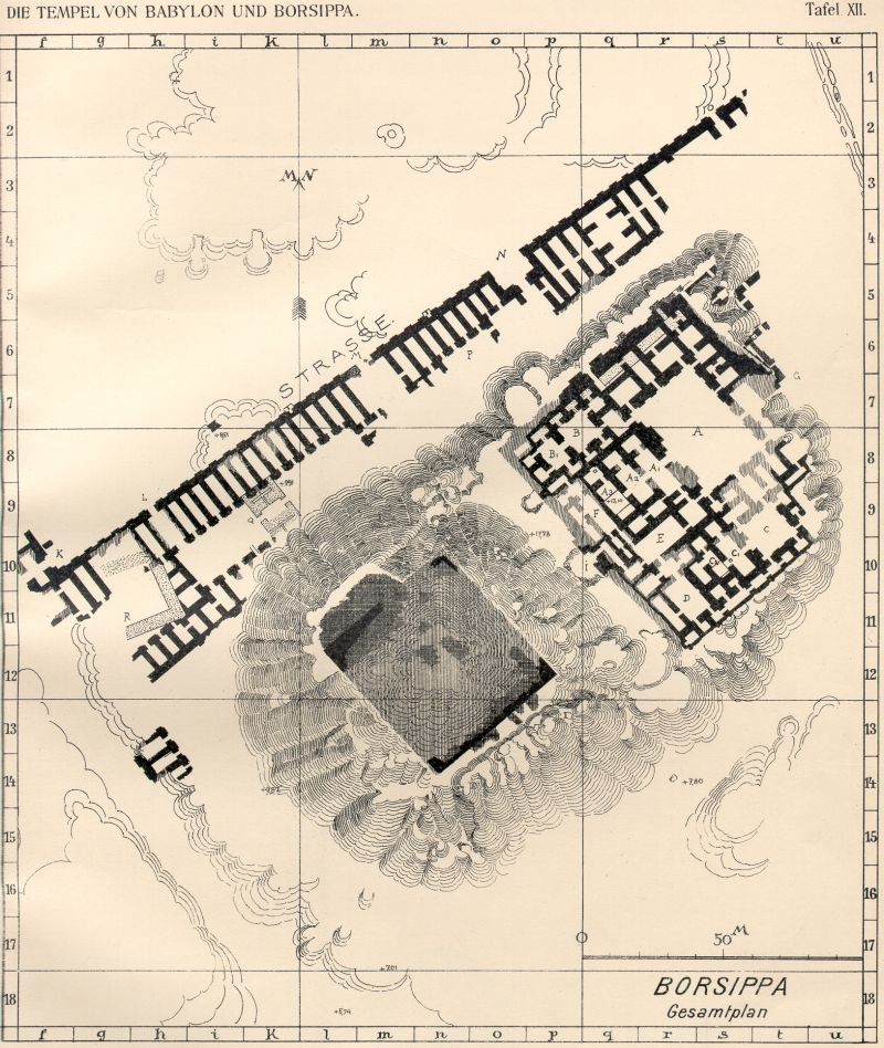 4 - Ancient Borsippa, city of alien giant god Nabu, map of ancient Borsippa in Sumer, one of the 1st cities on Earth established by giant alien gods, the alien giants had their own ziggurats - residences called temples,  houses of the gods on Earth Colony