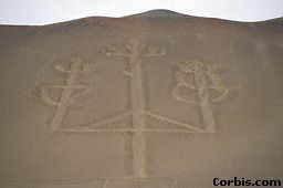 4a - Adad's weapon of brilliance carved into the mountainside at Bay of Paracas Peninsula , Peru, incredible ancient artefact of the giant alien god Adad, who was born on Earth Colony