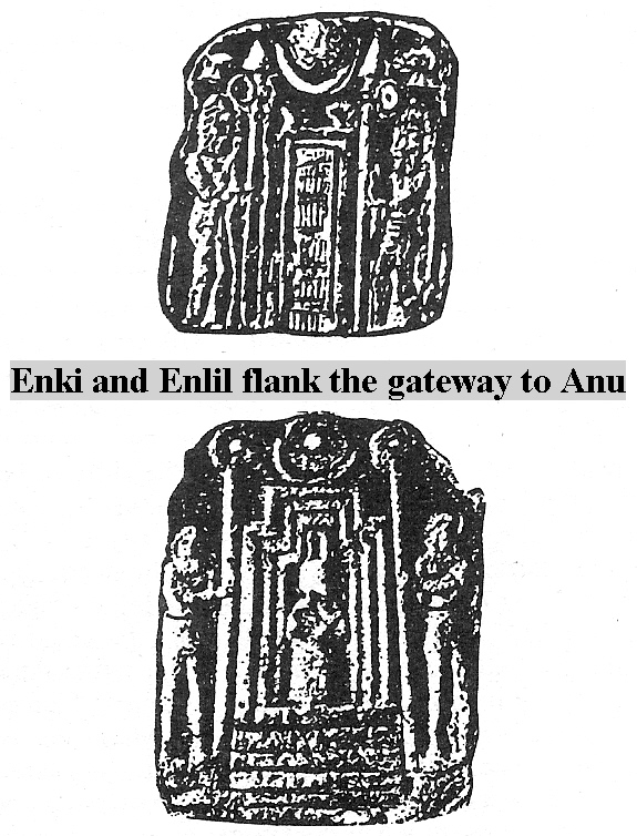 4a - Anu flanked by sons Enki's sons Dumuzi & Ningishzidda at the Gates of Heaven - Nibiru, at Anu's gate stood Enlil & Enki, (religions St. Peter's Gate), & when much later Adapa - Adam visited Anu, there stood Dumuzi & Ningishzidda, Enki's young sons, born on Earth Colony, never seen Nibiru until the trip with Adapa was arranged