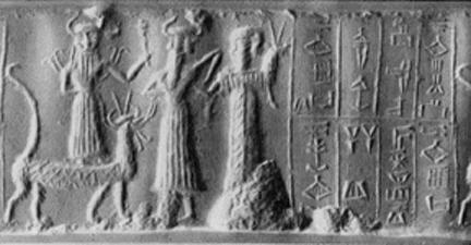 """4a - Assur artifact of some alien god family members, Marduk, his son Ashur, with a giant mixed-breed offspring made king, a time in our long forgotten past, when the alien giant gods walked & talked with earthlings, had sex with the daughters of men, produced mixed-breed offspring whom became the Biblical """"Heroes of old, men of renown"""", """"mighty men"""", the 1st kings on Earth"""