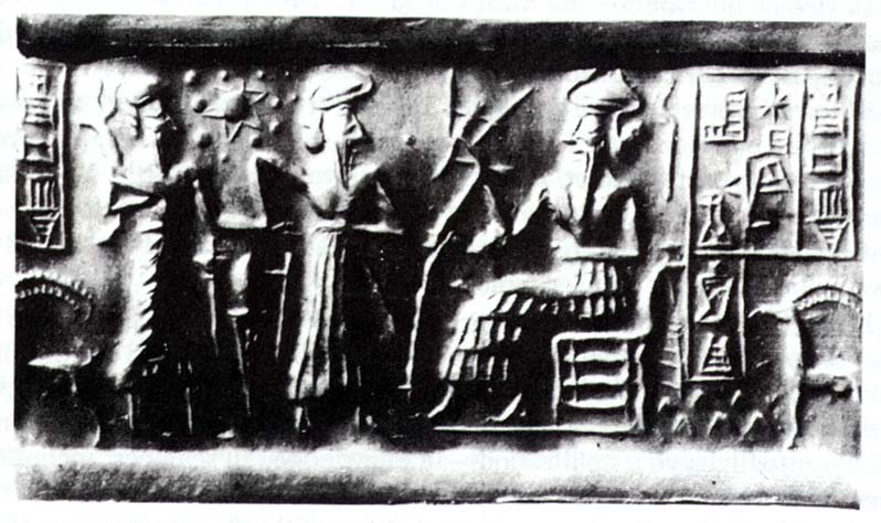 """Enlil appoints son Ninurta to teach Cain to farm, earthlings learn to farm by Enlil's command, Enlil is often depicted with a plough in the very early stage of """"modern man"""", fashioned in Sumer"""