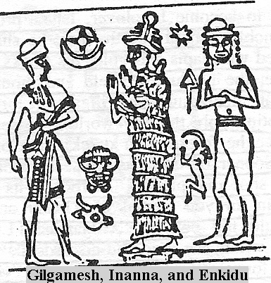 """4a - Gilgamesh, Ninsun, & Enkidu, Enkidu was created by Ninhursag & Enki, left in the woods to grow up wild, tamed by a priestess to become Gilgamesh's companion, friend, protector, etc., SEE """"EPIC of GILGAMESH"""" TEXTS & OTHER TEXTS ON THIS PAGE"""