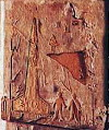 4a - ancient artefact from Kush Nubia, today's Sudan, modern-looking rocket, upright & at the ready, with two alien pilots standing on the Earth beside it