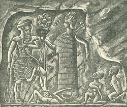"4b - Inanna & Utu with much smaller earthlings under foot, a scene from the past when the giant alien gods came down from Heaven - planet Nibiru, colonized the Earth, fashioned ""modern man"" from an existing primitive upright standing creature of the day, then put the new advanced earthlings to work for the gods"
