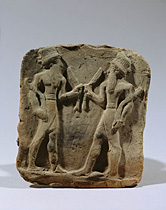 Martu & his father-in-law Utu, Martu, god-king of the Martu lands, relief (early 2nd millennium BC) from Eshnunna