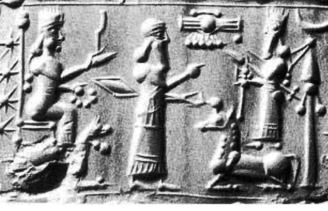 4c - Bau, her brother Enlil, & Marduk on a horse