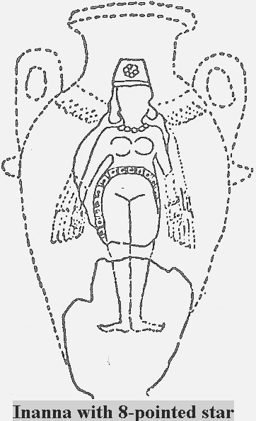 4c - Inanna artefact with her 8-pointed star symbol of Venus, the 8th planet / star seen when entering our solar system from outer space, thus Earth is Lucky #7