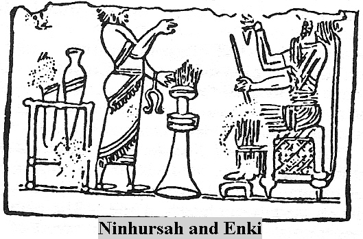 4c - Ninhursag with her umbilical chord cutter hanging from her wrist, & Enki working in the lab, making little progress with the ad-mixture of earthling with the alien species