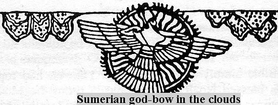 4c - Sumerian flying disc, flying alien god image with wings in a disc, man's way of drawing alien beings that pilot flying machines, high technologies that they could not understand